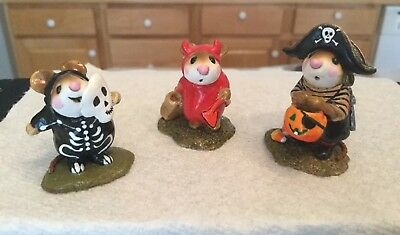 Wee Forest Folks Devil,  Pirate  And Skeleton  Halloween Mice