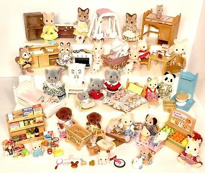 Lot Calico Critters Epoch Sylvania Animals Families Babies Furniture Grocery +