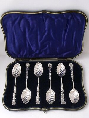Stylish Boxed Set of 6 Antique Solid Sterling Silver Coffee Spoons 1898/ 84 g