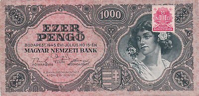 1000 Pengo From Hungary 1945 Vf+ Banknote!pick-118