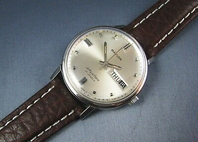 Vintage Baylor SKYSTAR Stainless Steel Hand Wind Day Date Mens Watch 17J 1960s