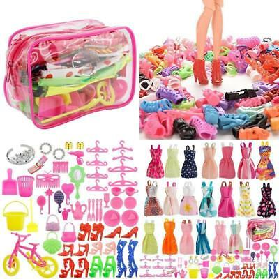 20 Pack Barbie Doll Clothes Party Gown Outfits + 60 Pcs Doll's Accessories Shoes