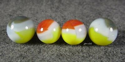 Lot Of 4 Very Nice Vintage Vitro Agate Tiger Eye Type Marbles .. #0923C