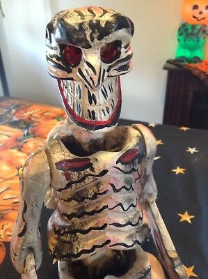 """Large Painted Wood Day of the Dead Posable Jointed Skeleton 26"""" T X 9"""" W X4"""" D"""