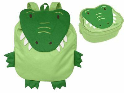 Green Sprouts Safari Friends Green Alligator Backpack and Bento Box Bundle
