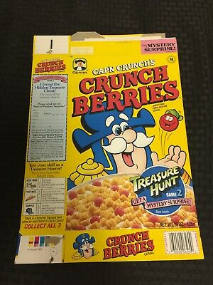 1993 Cap'n Crunch's Crunch Berries Cereal Box Free Shipping