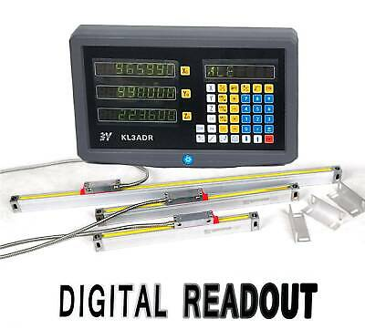3 Axis Digital Readout Linear Glass Scale TTL DRO Display Kit Milling Lathe