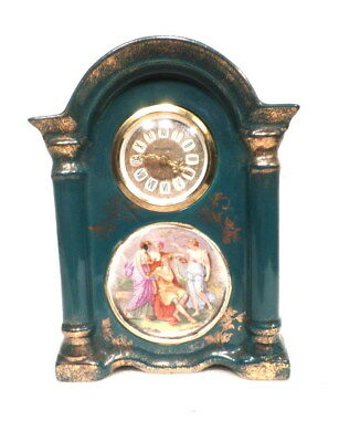 1910 German Mechanical Wind Blue Porcelain Clock With Victorian Painted Scene