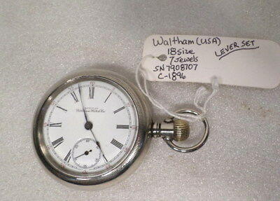 Waltham Porcelain Dial 18 Size Pocket Watch--Lever Set--Subsidiary Seconds--Runs