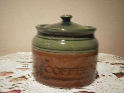 Bendigo Pottery Australia Green & Brown Coffee Canister