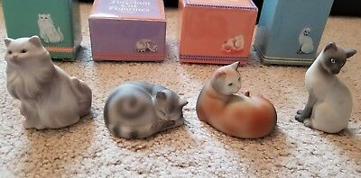 New In Boxes Full Set Of 4 Avon 1984 Porcelain Cat Figurines~Nice!!