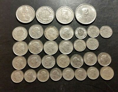 SWITZERLAND Coin Lot Collection of 16.25 Swiss Francs Face Value 32 coin total