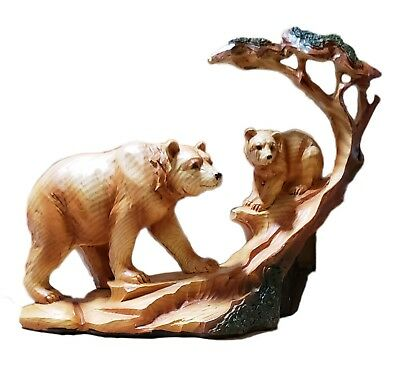 Poly Wood Bear and Cub Carving Home Decor 7x6 Inches