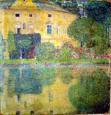 Vintage Painting Print On Canvas Lake Attersee Austria Klimt Ready to Hang NEW