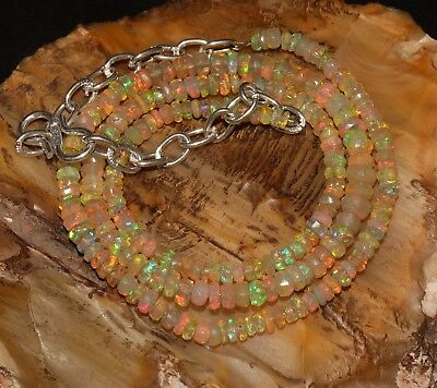 """29 Tcw 3-4 Mm15""""natural Genuine Ethiopian Fire Opal Faceted Beads Necklace-P483"""