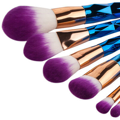 Pro Mermaid Glitter Makeup Brushes Set Face Powder Foundation Blush Cosmetic Kit
