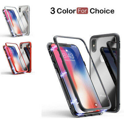 Magnetic Metal Bumper Phone Case For iPhone X 7 8 Plus 6 6S Plus XR XS Max 2018