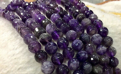 """natural 8mm Faceted Russican Amethyst Round Gems Loose Beads 15"""" AA"""