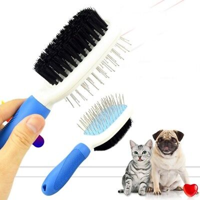 2in1 Pet Comb Brush Stainless Steel Nylon Dogs Cats Grooming for Long Short Hair