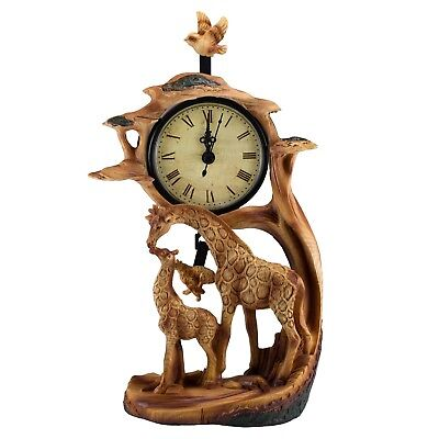 "Giraffes Clock Faux Carved Wood Look Figurine 10.25"" High New In Box!"