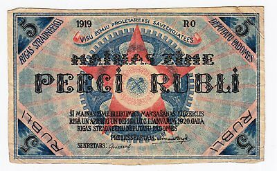 Latvia: (Riga Local Communists) Banknote 5 Rubli 1919 F+++