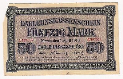 World War Banknote:german Occup. Kowno 50 Mark 1918-Poland,estonia,lithuania,lat