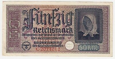 World War 2 Banknote:nazi-Germany: 50 Reichsmark Vf