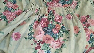 Pair heavy vintage country cottage curtains beautiful roses good quality fabric