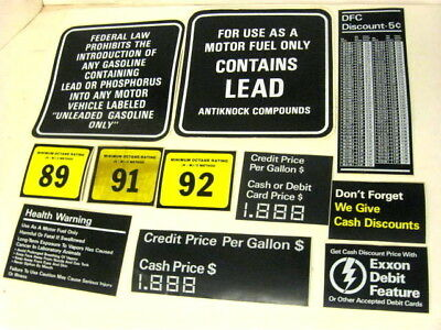 Vintage Lot Gasoline Station Pump Stickers NEW Unused Lead Warning EXXON