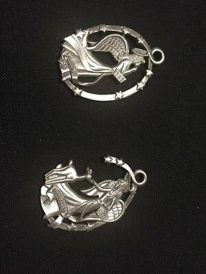 Pair Of Longaberger  1999 Pewter Angel Christmas Ornaments. Faith Kindness