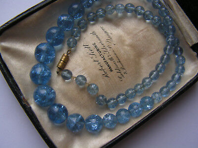 Lovely Old Art Deco Blue Crackle Like Glass Beads For Re-Stringing