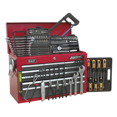 AP22509BBCOMB Sealey Topchest 9 Drawer Red/Grey & 196pc Tool Kit