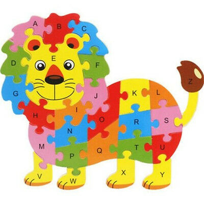 Wooden Blocks Kid Child Educational Alphabet Puzzle Jigsaw Toy ~Lion~ ☆