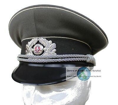 c7edce50a7f GENUINE NVA DDR EAST GERMAN ARMY OFFICERS PEAKED CAP   BADGE (SIZE 53-57cm