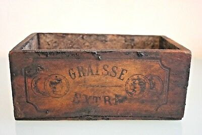 Vintage French Wooden Grease Box  (Graisse Extra) 4 1/4'' (11 1/2cm) Tall