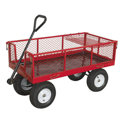 CST806 Sealey Platform Truck with Sides Pneumatic Tyres 450kg Capacity