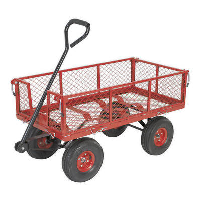 CST997 Sealey Platform Truck with Sides Pneumatic Tyres 200kg Capacity