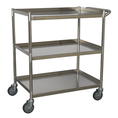 CX410SS Sealey Workshop Trolley 3-Level Stainless Steel [Tool Trolleys]