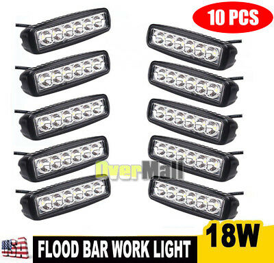 Lot 6 Inch 18W Led Work Light Bar Flood Beam Driving Fog 4Wd Lamp Ute Suv Usa