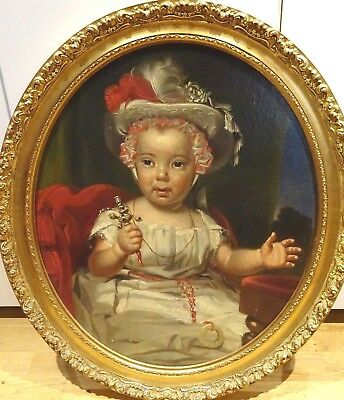 18th 19th Century English Baby Child Girl Portrait & Silver Rattle Antique