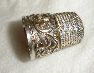 Antique Deep Cut Simons Small S Sterling Silver Thimble-Excellent