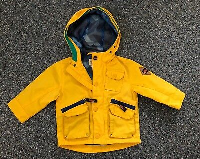 Baby Boy Yellow Ted Baker Mac Coat Jacket with hood 6 - 9 months 74cm
