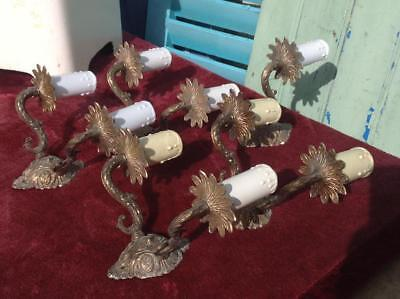 Vintage French Ornate Brass Wall Sconce Lights JOB LOT Salvage Hollywood Regency