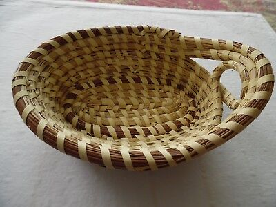 VINTAGE Small SWEET GRASS GULLAH HANDLE OVAL Basket Charleston SC 7""