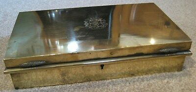 Antique Brass Campaign Instrument, Safe or Cigar Box with engraved Monogram