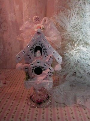 adorable hand painted shabby pink roses gingerbread n candy christmas birdhouse