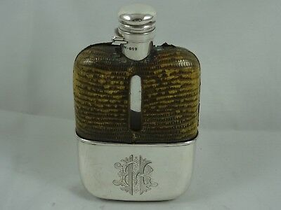VICTORIAN silver HIP FLASK, 1891
