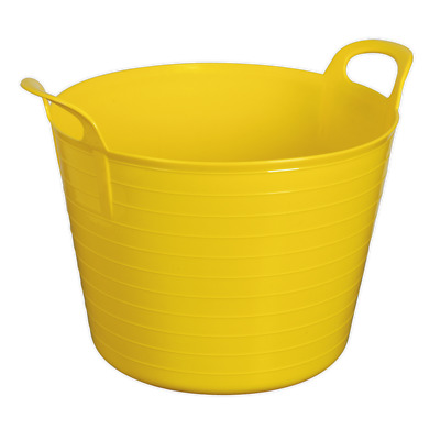 SFT40Y Sealey Tools Heavy-Duty Flexi Tub 40ltr - Yellow [Janitorial] Buckets