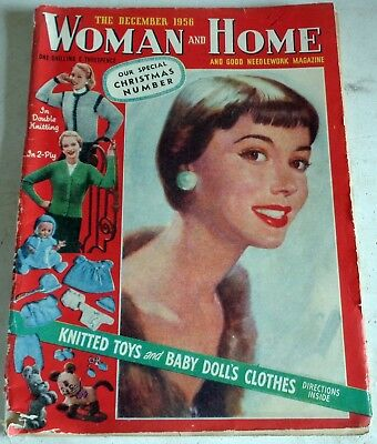 Dec 1956 Xmas:  Woman & Home Magazine: Knitting Fiction Fashions: Post  Discount