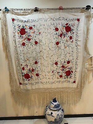 Antique Chinese Hand Embroidered Pure Silk Piano Shawl 130 X 130 Fringe 45 Cm